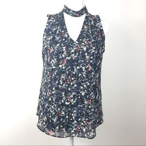WHBM Navy Floral Lined Keyhole Neck Tank 2